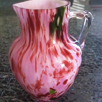 Spatter - EOD Glass jug with white glass internal casing  - Art Glass