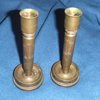 WW2 trench art candlesticks - Military and Wartime
