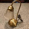 Brass and Glass with shell base table lamp