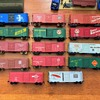 HObbyline Box cars from 1953 to 1957 with 3 of the 1957 kit car added.