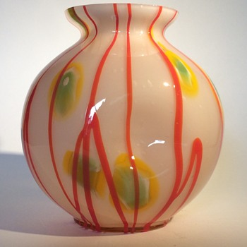 Kralik Lines and Canes Ball Vase - Art Glass