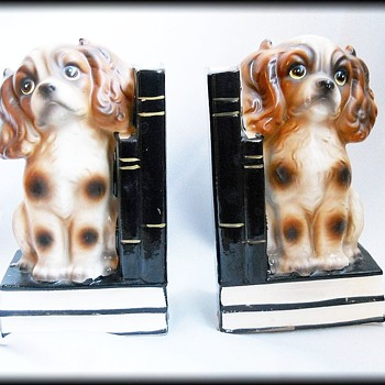 Vintage Trimont Ware Japan -- Cocker Spaniel Ceramic Bookends ( weighed ) - Animals