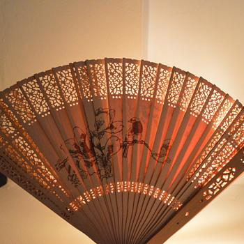 Oriental wooden hand engraved heat fan