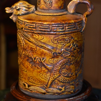 Old Dragon Rice Wine Jug - Pottery