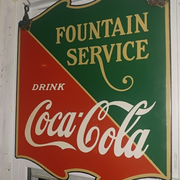 1936 double sided coke sign - Coca-Cola
