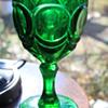 EMERALD GREEN WATER GOBLET ANTIQUE ? VINTAGE ? PRESSED GLASS