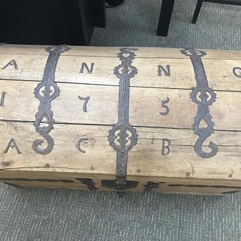 Sea Captain's chest, Dutch dated 1756 iron - Furniture