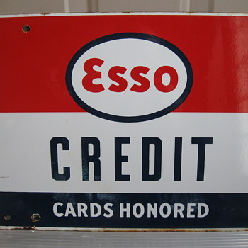 ESSO Credit card Porcelain sign 1950's - Petroliana
