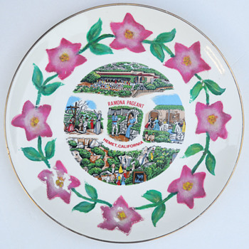 Ramona Pageant - hand-painted souvenir plate - Hemet, California - Advertising