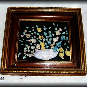 Another vintage SEA SHELL FOLK ART PICTURES ( Pair ) - Folk Art