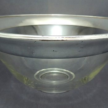 Two Large Silver Rimmed Serving Bowls