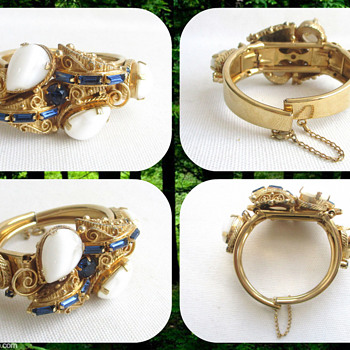 Vintage Ornate Hinged Stone Bracelet - Maker??? - Costume Jewelry