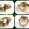 Vintage Ornate Hinged Stone Bracelet - Maker???