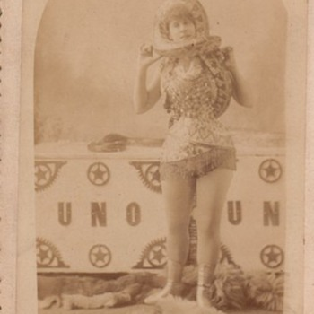 Cabinet Card by Frank Wendt Sideshow Performer with Snake  - Photographs