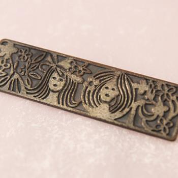 Rectangular Bronze Brooch - Costume Jewelry