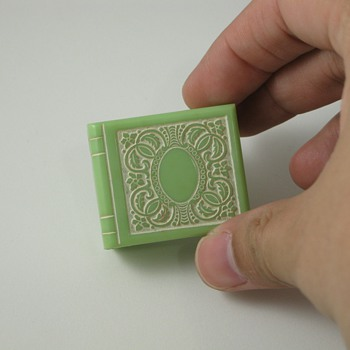 Green Celluloid Book Shaped Ring Box - Fine Jewelry