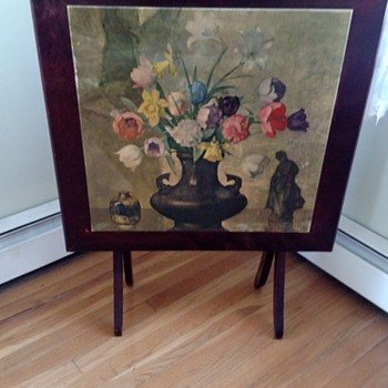 antique folding card table with flowers