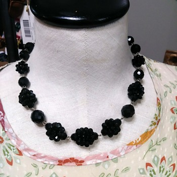 Jet black faceted bead BERGERE necklace / choker - Costume Jewelry
