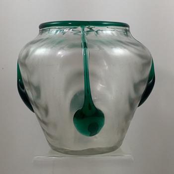 """Loetz """"Candia wellenoptisch mit dunkelgrünen glatten Tropfen"""", PN II-2015, ca. 1905 - Art Glass"""