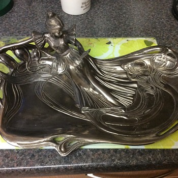 "Art Nouveau period lady looking into mirror large key/pin tray 15"" X 9"" - Art Nouveau"