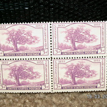"1935 Connecticut Tercentenary ""The Charter Oak"" 3¢ Stamps"