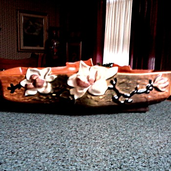 "Roseville Tangerine Console Bowl /Magnolia 451-12"" / Circa 1943 - Pottery"