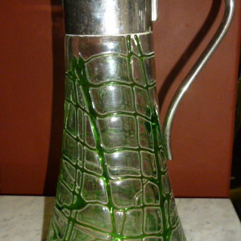 A RARE EARLY KRALIK GLASS PITCHER WITH WMF METAL MOUNTS - Art Glass