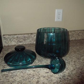 L. E. Smith? Depression glass punch bowl with ladle - Glassware