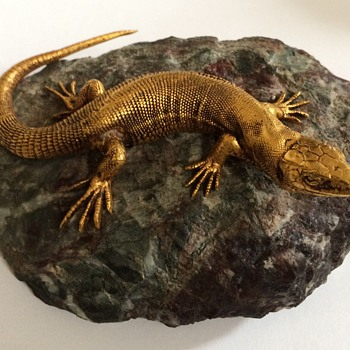 Gilded Bronze Lizard Paperweight - Animals
