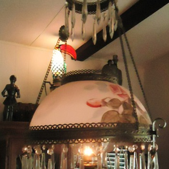 Granny's 1890 kerosene lamp, mom made electric in the 1940's, 2013 I changed back! And art deco lamp by me and more!