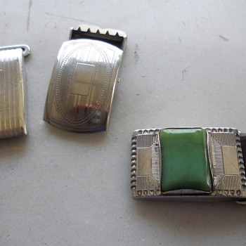 "1"" wide silver buckle slides circa 50's-60's - Accessories"