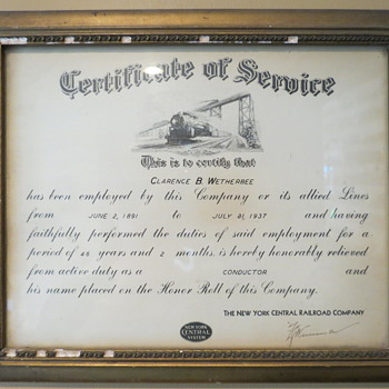 New Your Central certificate of service 1891-1934.