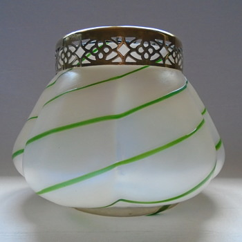 Kralik MOP Rose Bowl with Green Glass Trails - Art Glass