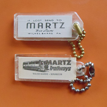 Vintage Martz Bus Lines Luggage Tags - Advertising