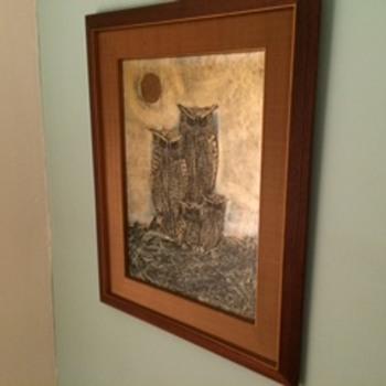 Vintage owl painting