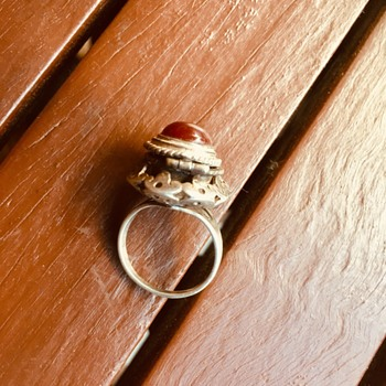 Vintage 925 poison ring with red stone  - Fine Jewelry