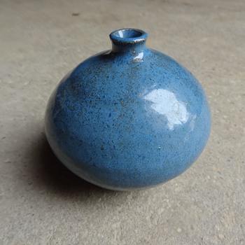 Blue glaze bud vase - Pottery