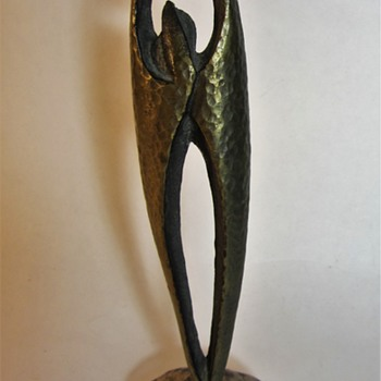 Who is this modernist looking bronze statue attached to a stone by and when? - Fine Art