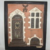 Unusual Plaster Cast Danish Vintage City House Front, Mounted Wall Hanging & Signed