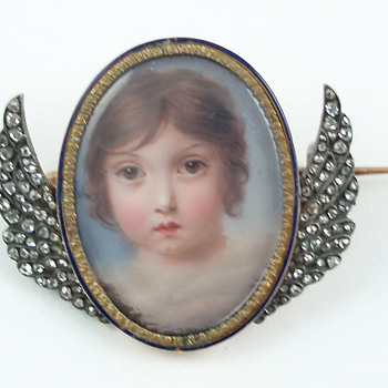 Mourning Portrait Miniature of Young Girl - Fine Jewelry