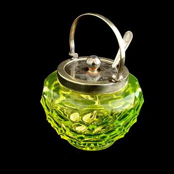 English Honey Comb Vaseline Mustard Pot. Maker? - Art Glass
