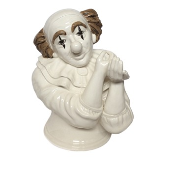 Ceramic Clown Bust Applying Makeup Signed Henry - Figurines