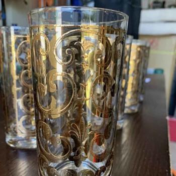 Here I have 6 George's Briard 22k gold Mid-Century Filigree Collins glassware - Glassware