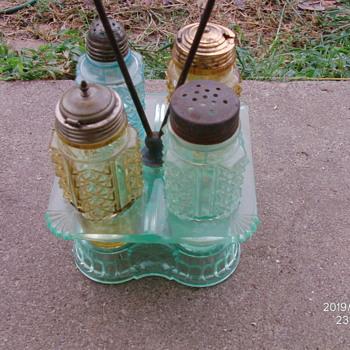 Victorian Glass Cruet/Condiment Set. - Glassware