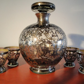 Decanter and goblets with sterling overlay - Bottles