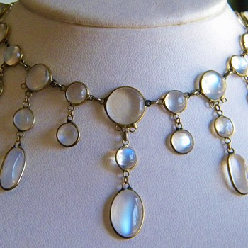 Antique Victorian Ceylong Moonstone Festoon Garland 9ct Necklace - Fine Jewelry