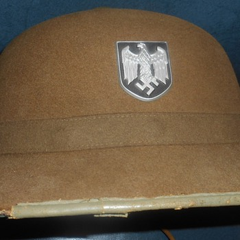 Vtg German ? Helmet? Felt-like covering on outside.