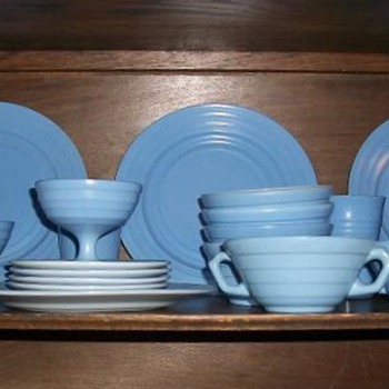 Blue Moderntone Platonite set from Hazel Atlas, 1936-53?