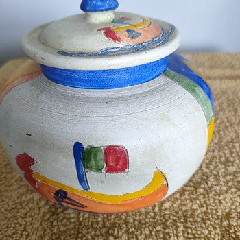 Colourful pot with boat/fish/house inscriptions - Pottery