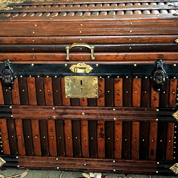 1880's Martin Maier beveled top slat trunk - Furniture
